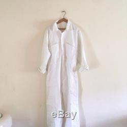 VTG French industrial Workwear zip chore coveralls white cotton boiler jumpsuit
