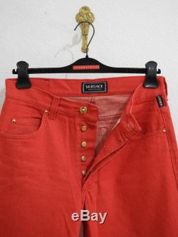 Versace Jeans Couture Vintage Denim Jeans 32 M Red Gold Buttons 90s Made in Italy Pants Unworn