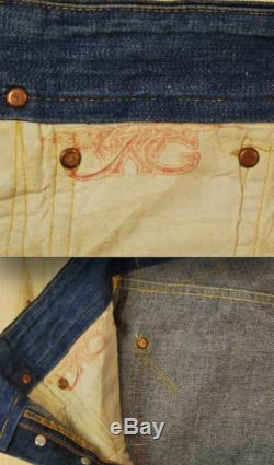 Vintage 1940's 50's GWG Donut Button Denim Jeans Selvedge Crotch and Pocket Rivets Retro Collectable Rare