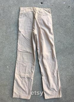 Vintage 1940s Mens Lightweight Tan Brown Cotton Button Fly WORK PANTS Size 31 x 33 Lee Levis Wrangler Workwear Hercules