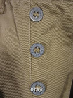 Vintage 1941 US Army Khaki Chinos WWII Trousers Zinc Button Fly 28 x 27