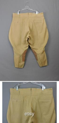 Vintage 1950s Breeches with Zippers 1950s XL Men's or Women's 44 inch waist, Suede Patches