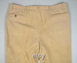 Vintage 1950s Cream Yellow Flecked Trousers Size 44 x 31