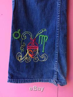 Vintage 1960s 1970s Suede Patchwork Embroidered Bell Bottoms