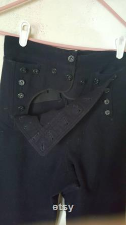 Vintage 1960s era genuine Navy uniform dress pants. 100 navy wool, double button fly, lace back. Men's size S Small. FREE SHIPPING