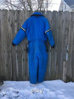 Vintage 1970's JCPenney Snowmobile Zip Up Insulated Long Sleeve Blue Collared Snowmobile Suit Size Medium