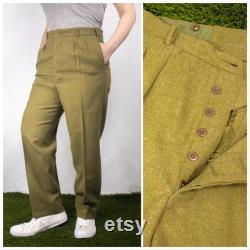 Vintage 1970s Green Authentic Army Cadet Button Fly Straight Leg Trousers by Conway Bros
