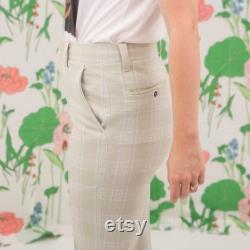 Vintage 1970s Plaid Pants Bell Bottoms High Waisted