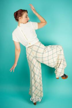 Vintage 1970s Womens Plaid Pants Small Trousers Wide Leg Pants Bell Bottoms Beverly Paige