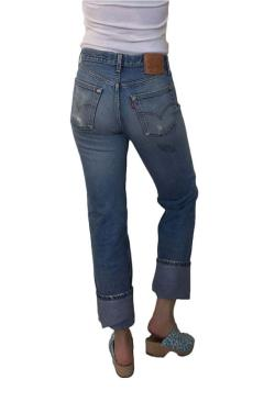 Vintage 1980s Levi's 501 Distressed Jeans Shrink to Fit 32 x 33 Red Tab Button Fly Straight Leg Made in USA Boho Hippie Jeans 32 x 32 Actual