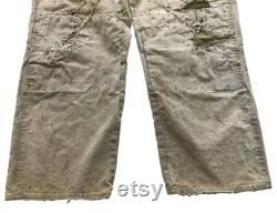 Vintage 20's Japanese Boro Patched Distressed Chino Khaki Civilian Work Chore Pants Left-Hand Twill (VW-76)