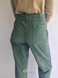 Vintage 29 30 32 Waist Sweden Military High Waist Pants Army Olive Green Cotton Fatigue Pants Swedish Trouser Pleat High Rise Pant