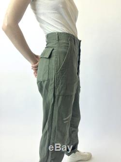 Vintage 30 Waist One of a Kind OG 107 Olive Green Army Pants Paint Splatter 60s 70s Vietnam Utility Fatigues Military Trouser