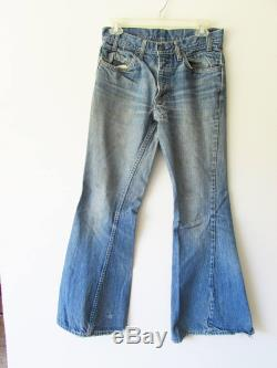 Vintage 60s 70s Levis 684 Orange Tag Distressed Patched Faded Hippie Boho Super Bell Bottoms Denim Jeans