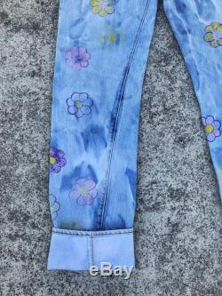 Vintage 70s 80s Levi's 501 Redline Selvedge Denim Jeans Size 31x35 Bleached with Hand-drawn Flowers