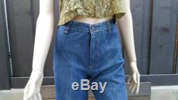 Vintage 70s The California Market Colorful Hippie Boho Southwesterm Textile Panel High Rise Bell Bottoms Flares Size XS