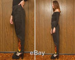 Vintage 80s Revived Levi's 560 Relaxed Fit Orange Tab USA Black Gray Boyfriend Flame Fire Print Jean Denim Jeans High Waist Zip Fly 28 x 32