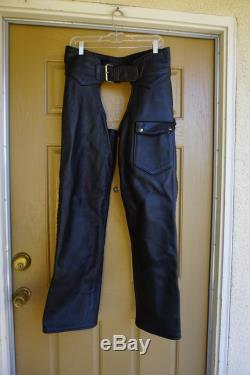 Vintage 80s black leather chaps size small Biker motorcycle riding mens pants 80s 90s 1980s 1990s buffalo