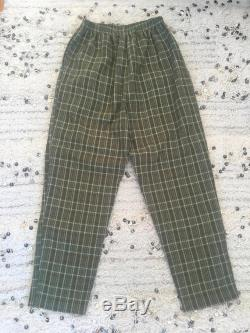 Vintage 90's GUCCI GG MONOGRAM Green Plaid Pants Jeans Dress Shorts Trousers Hipster Rare