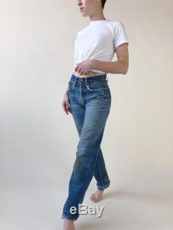 Vintage Big E Levis Size 0 With 25 Inch Waist 60s Selvedge Levi 501 Distressed Patched Button Fly Redline Jeans USA Cotton Denim