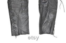 Vintage Black Real Leather Biker Lace Up Motorcycle Trousers Pants Size W38 L29