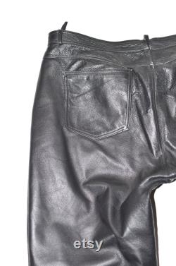 Vintage Black Real Leather Straight Biker Motorcycle Men's Trousers Pants Size W41 L31