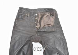 Vintage Brown Real Leather Button Fly Motorcycle Biker Men's Trousers Pants Size W29 L31