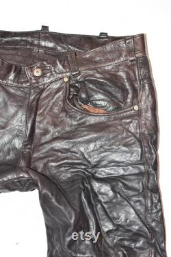 Vintage Brown Real Leather Straight Biker Motorcycle Men's Pants Trousers Size XL W37 L27