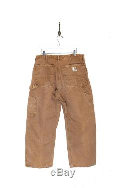 Vintage Carhartt Doubled Fronted Pants 70s Carhartt Workwear Canvas Carpenter Jeans 1970s Carhartt Tan Canvas Dungaree Duck Pants 35W