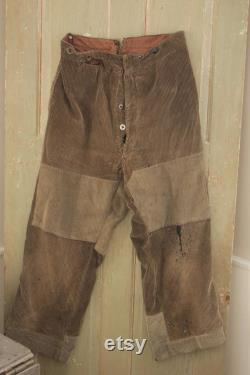 Vintage Clothing Corduroy Cords French work wear pants workwear trousers hunting grey gray men's old hipster 34 waist large slacks