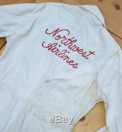 Vintage Coveralls Vtg GO-PFOR Union Made Distressed Off White HBT Coveralls with Northwest Airlines Chain Stitch Embroidery Donut Buttons