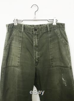 Vintage Early 60's Military Cotton Utility Pants size 33 28 1 2 Distressed