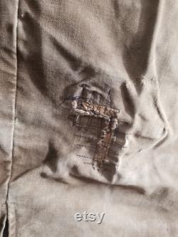 Vintage French Brown work trousers duck canvas M 32 zip leg