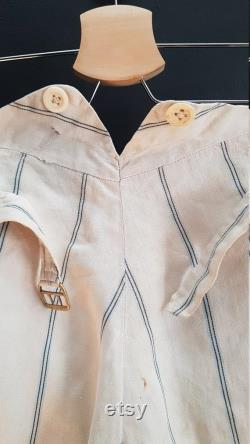 Vintage French white cotton summer linen trousers boating