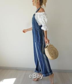 Vintage Hickory Stripe Oshkosh Overalls 31 W 70s Striped Low Back Flares Engineer Dungarees Railroad Conductor Painter Bib Overalls