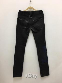Vintage John Galliano Jeans Distressed Black Denim Pants Dior Homme Designers Made in Italy Size 44
