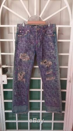Vintage Junya watanabe x comme des garcons selvedge jeans with flowers purple torn design small size waist 32 made in japan