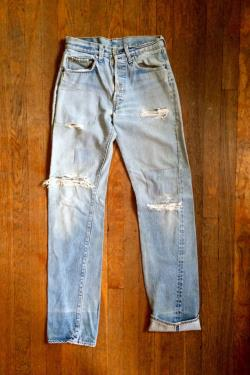 Vintage Levis 501 Redline Selvedge Distressed And Repaired