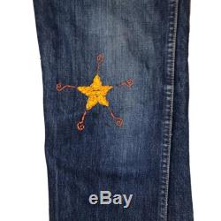 Vintage LEVI'S Big E Orange Tab Tag 8 Talon 42 Embroidered Bell Bottoms Flare Jeans Sz 34 x 35