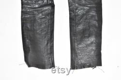 Vintage Lace Sided Men's Real Leather Biker Motorcycle Black Trousers Size W34 L30