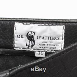 Vintage Leather PANTS Black and White Piping Mr. S Leathers Motorcycle Pants 28