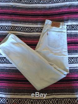 Vintage Levi's 501 High Waisted Button Fly White Denim Jeans