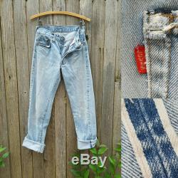 Vintage Levi's 501 Jeans Beautiful Vtg 70s 80s Distressed Trashed 70s 80s Selvage Black Bar Indigo Denim Jeans with Raw Hems 26.5 waist