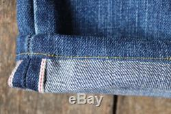 Vintage Levis Levi Strauss 501 indigo blue denim jeans selvedge 30 x 27 red tab big captial e LVC faded button fly made in USA workwear