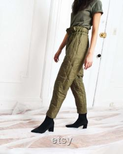 Vintage Quilted Liner Pants with Drawstring Waist
