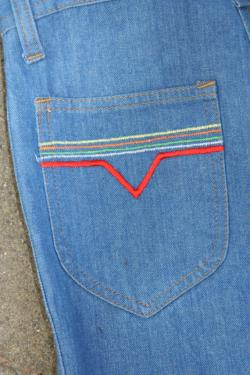 Vintage Rainbow Embroidered Bell Bottoms High Waist High Waisted Unisex 28 US 7 American Grafitti The 'Pride' Pant