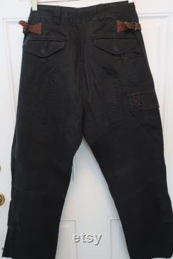 Vintage Ralph Lauren 34 x30 mens Relaxed Fit Surplus Pant in stonewashed black linen with leather accents and a multitude of pockets