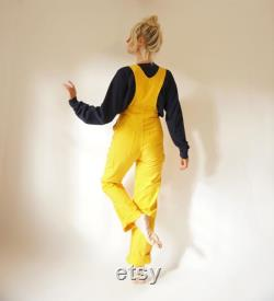 Vintage Smith's Butter Yellow Overalls 27 W 70s Yellow Cotton Dungarees Painter Bib Overalls