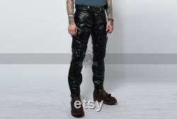 Vintage Sports Rider Leather Pants for Men Real Leather Pants Biker Pants Elastic Waist Pants Genuine Leather Pants