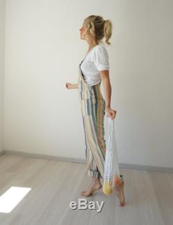 Vintage Striped Bell Bottom Overalls 30 W 70s Striped High Waisted Denim Flared Flares Dungarees Hippie Wide Leg Pants Bib Overalls